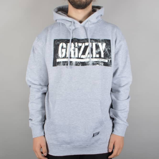 Grizzly Griptape Hot Box Logo Stamp Hoodie - Heather Grey