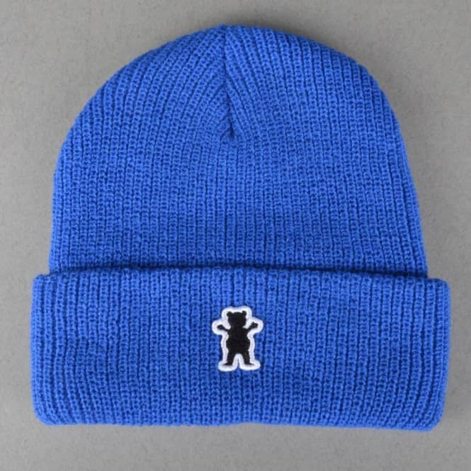 52fa0736289 Grizzly Griptape OG Bear Patch Fold Beanie - Royal Blue - Beanies ...