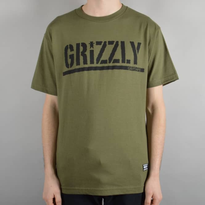 Grizzly Griptape OG Stamp Logo Skate T-Shirt - Military Green