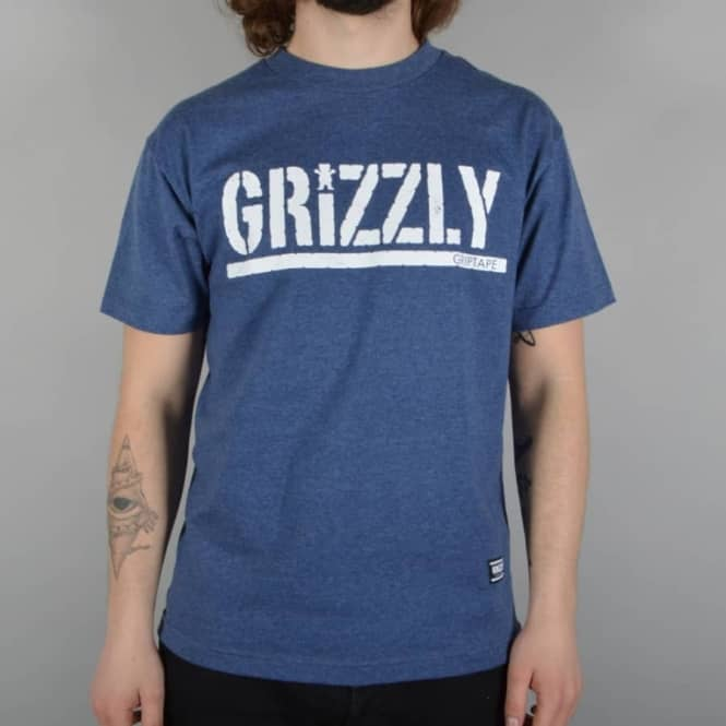 Grizzly Griptape Rough Stamp Skate T-Shirt - Denim Heather