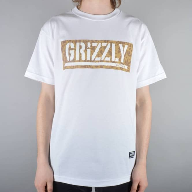 Grizzly Griptape Springfield Camo Box Skate T-Shirt - White