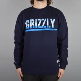 Stripe Tie Dye Stamp Crewneck Sweater - Navy