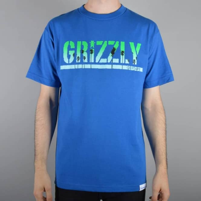 Grizzly Griptape Sunset Stamp Skate T-Shirt - Royal Blue