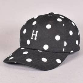 00a2eb76347 H-Polka Dot Curved Visor Dad Cap - Black