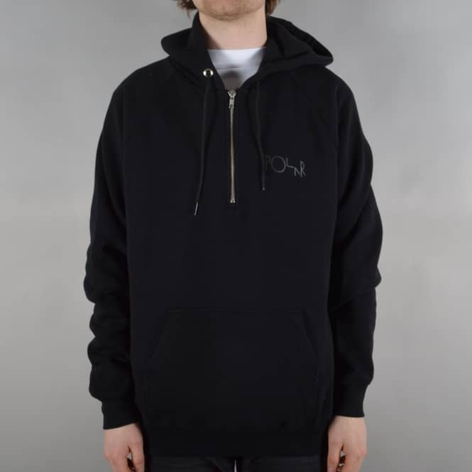 Polar Skateboards Half Zip Pullover Hoodie - Black
