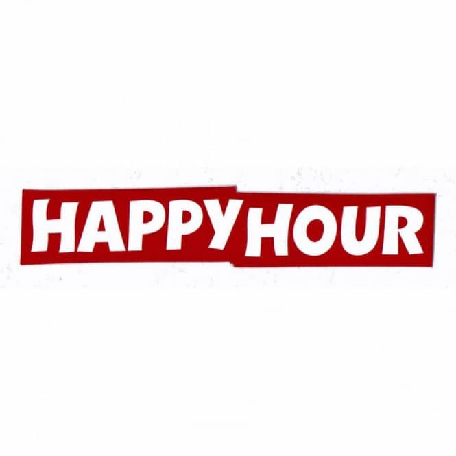 Happy hour logo skateboard sticker