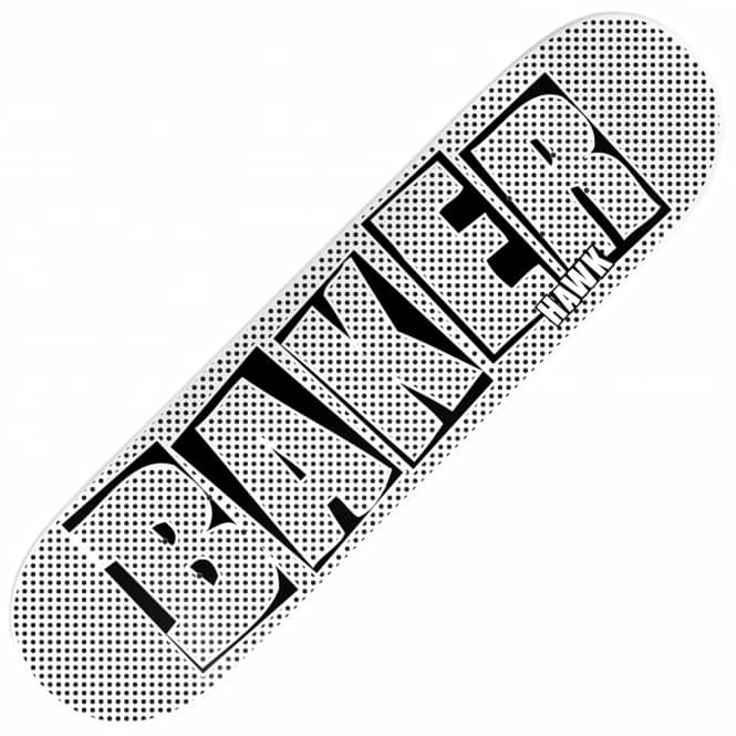 Baker Skateboards Hawk Brand Name Halftone Dipped White Skateboard Deck 7.75