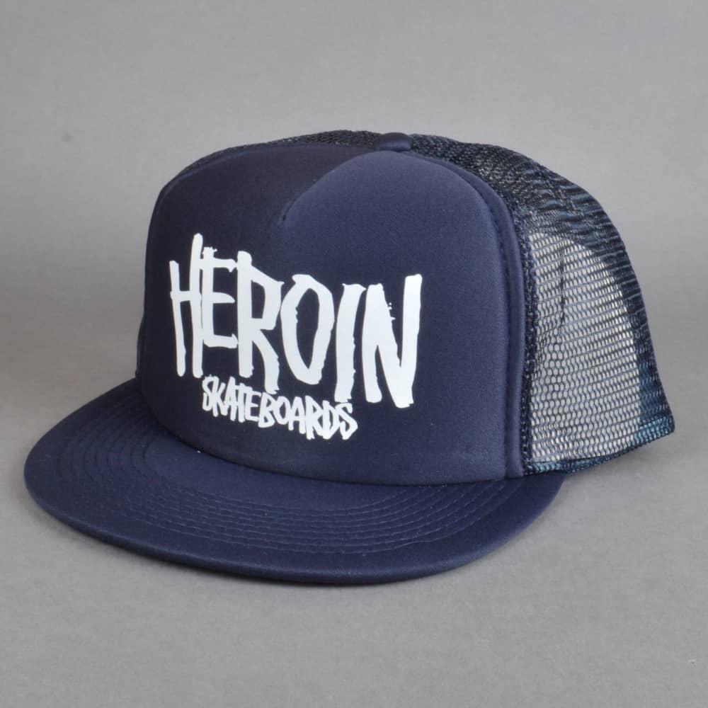Heroin Skateboards Block Script Mesh Trucker Cap - Navy 16b9aaf8b23