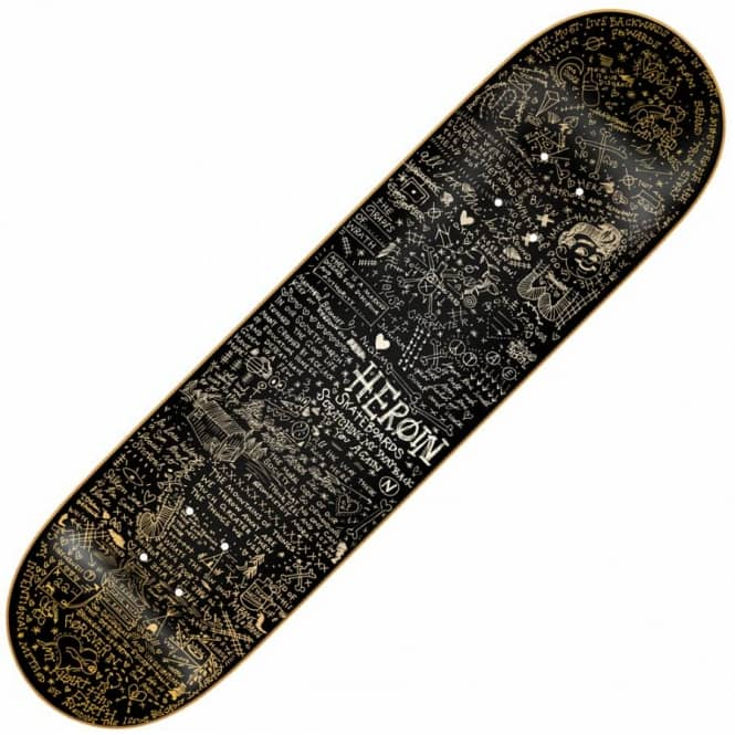 Heroin Skateboards Gold Scratched Skateboard Deck 8.38