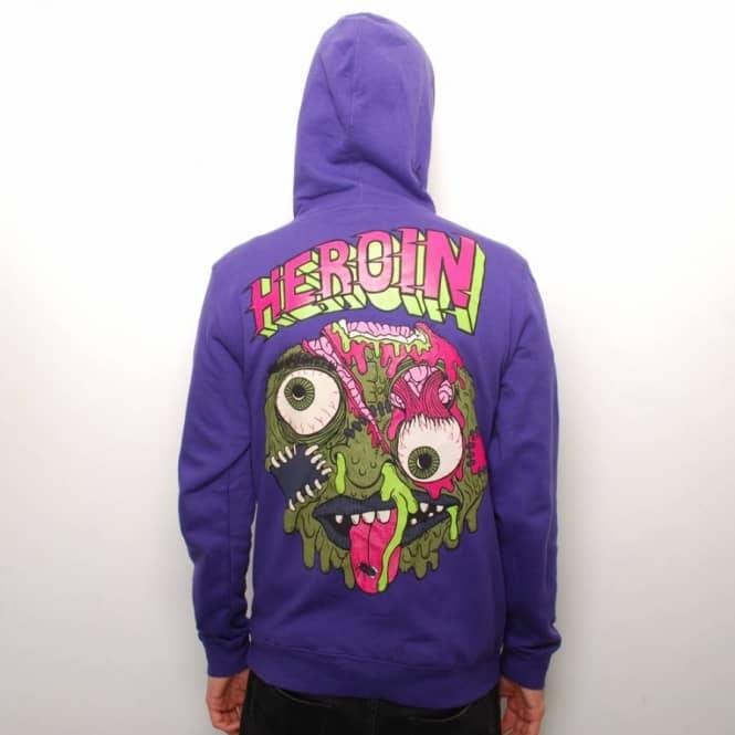 b55a5e541554 Heroin Skateboards Heroin Balls Zip Up Hoodie - Purple - Hooded Tops ...