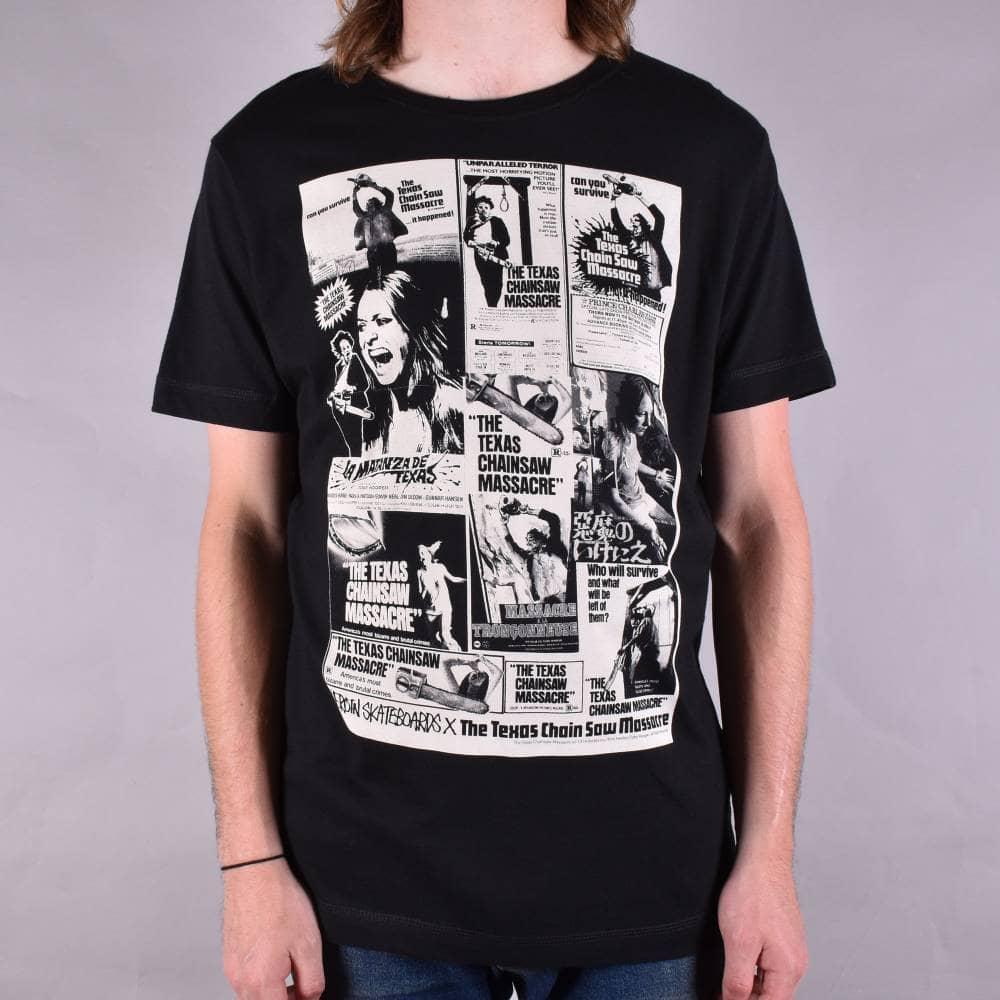 b78105ee0413 Heroin Skateboards Texas Chainsaw Massacre Poster T-Shirt - Black ...