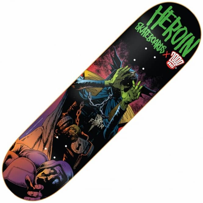 Heroin Skateboards x 2000AD Dark Judges Fear Skateboard Deck 8.25