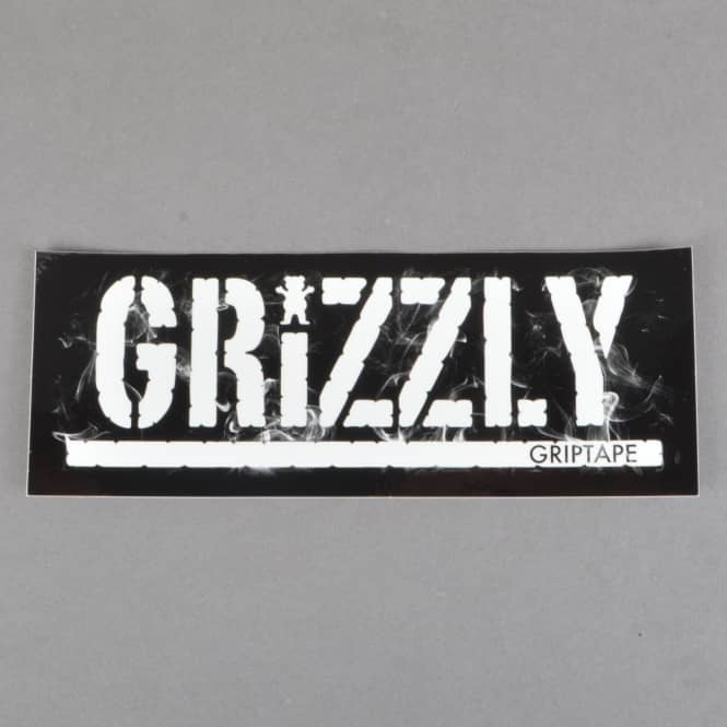 Grizzly Griptape Hot Box Logo Stamp Skateboard Sticker - Black