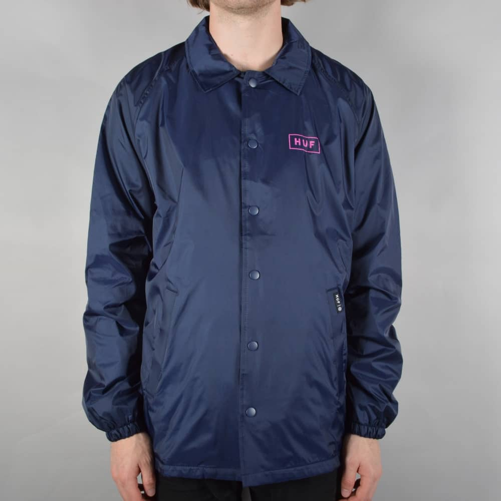 6e3e755d8cd1 HUF Bar Logo Coaches Jacket - Navy - SKATE CLOTHING from Native ...