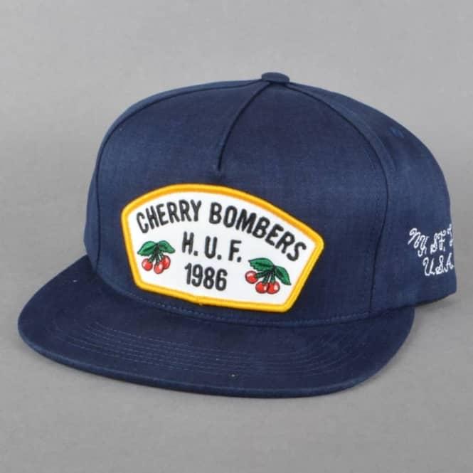 88b9490291749 HUF Cherry Bombers Snapback Cap - Navy - SKATE CLOTHING from Native ...