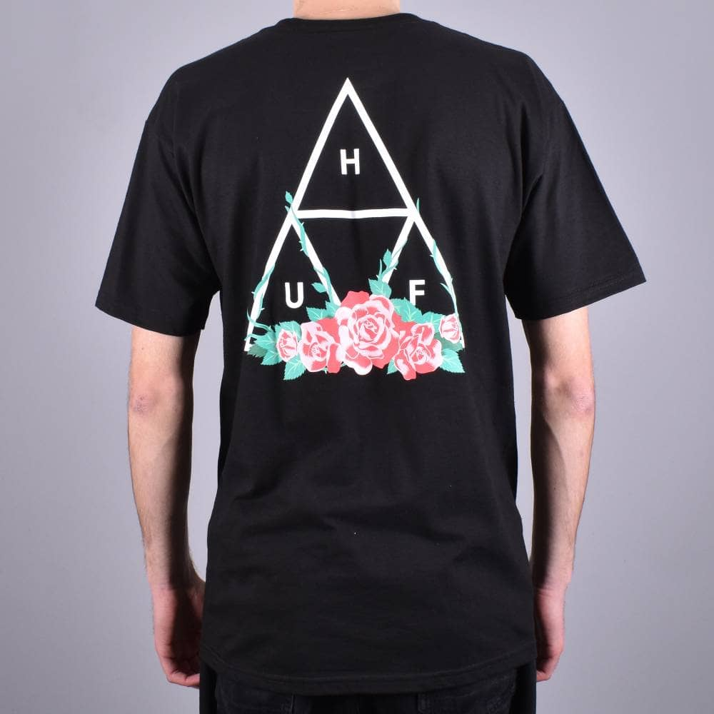 be2e53ba63dfb HUF City Rose Triple Triangle Skate T-Shirt - Black - SKATE CLOTHING ...
