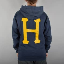 Classic H Pullover Hoodie - Navy Heather/Orange