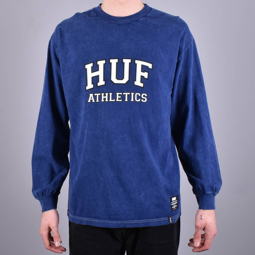 9276e69db0 HUF Draft Acid Wash Long Sleeve Skate T-Shirt - Insignia Blue