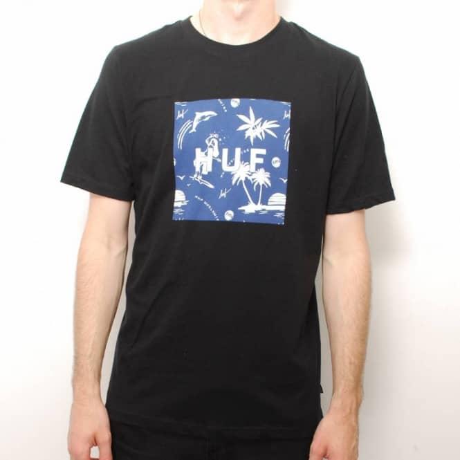 HUF Huf Drunk Aloha Skate T-Shirt - Black Navy Print - Skate T ... bb1925d2d