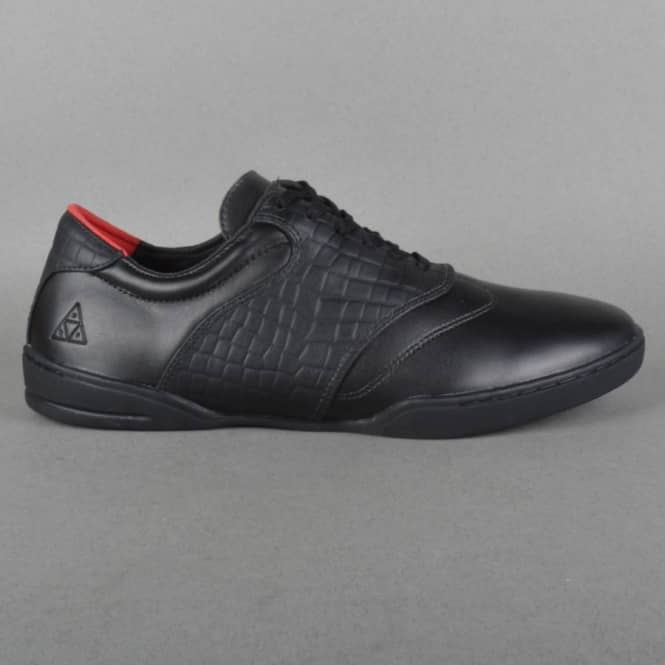 HUF Dylan Skate Shoes - Black Leather/Croc