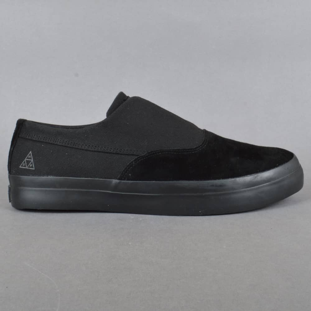 3464018b7a2 HUF Dylan Slip On Skate Shoes - Black Black - SKATE SHOES from ...