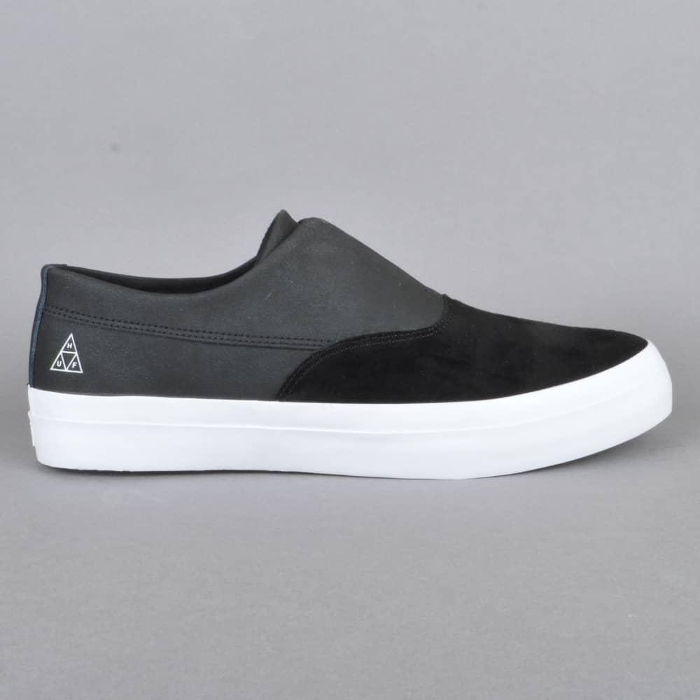 1426f7f18c HUF Dylan Slip On Skate Shoes - Black Black White - SKATE SHOES from ...