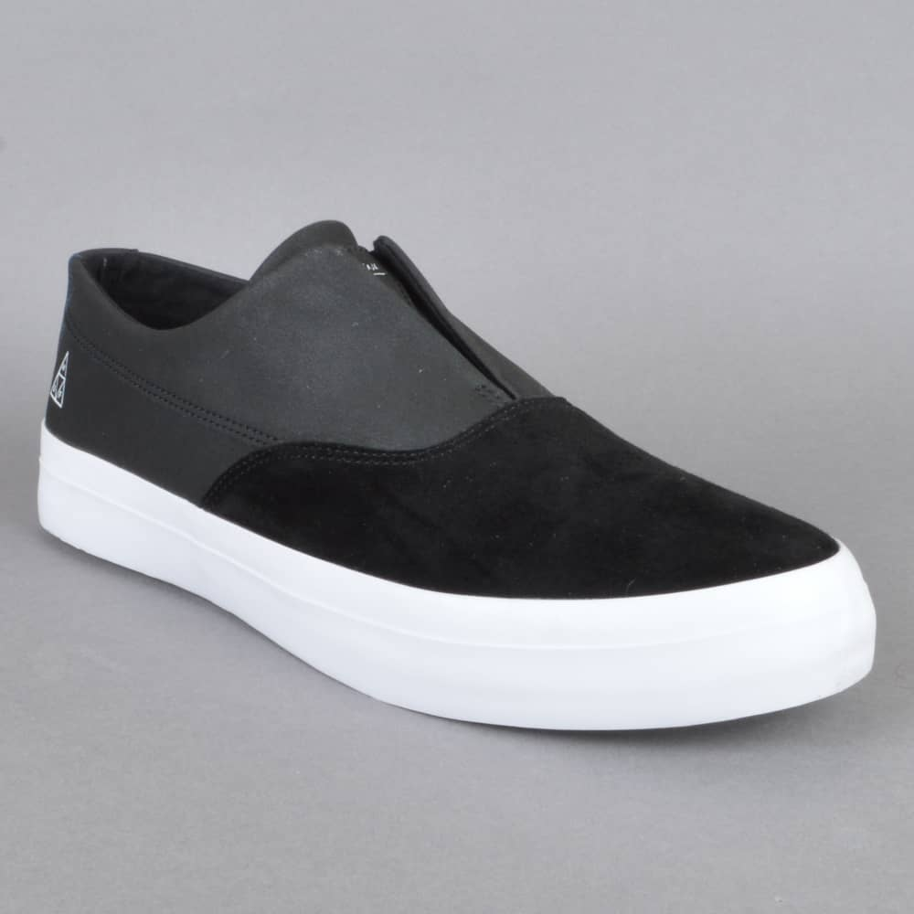 51f9445e3571 HUF Dylan Slip On Skate Shoes - Black Black White - SKATE SHOES from ...