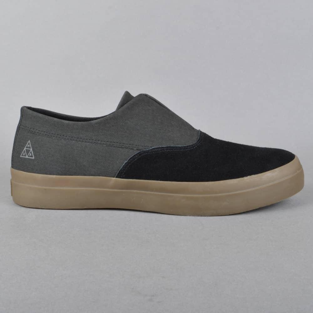 097191c74f HUF Dylan Slip On Skate Shoes - Black Dark Gum - SKATE SHOES from ...