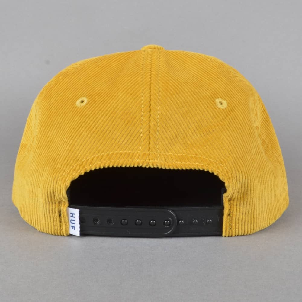 acad8f18b68 HUF Fracture Corduroy Snapback Cap - Mustard - SKATE CLOTHING from ...