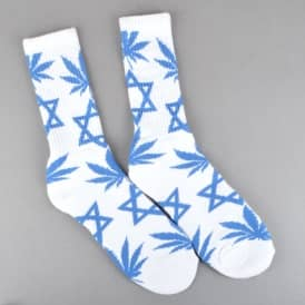 HUF Hannukkah Crew Socks - White/Blue