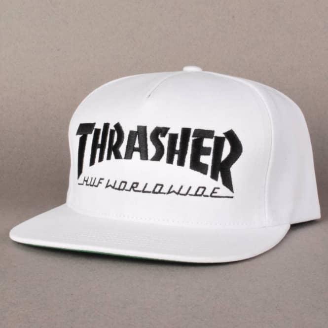 5b2be887cf3 HUF Huf X Thrasher Snapback Cap - White - Caps from Native Skate ...