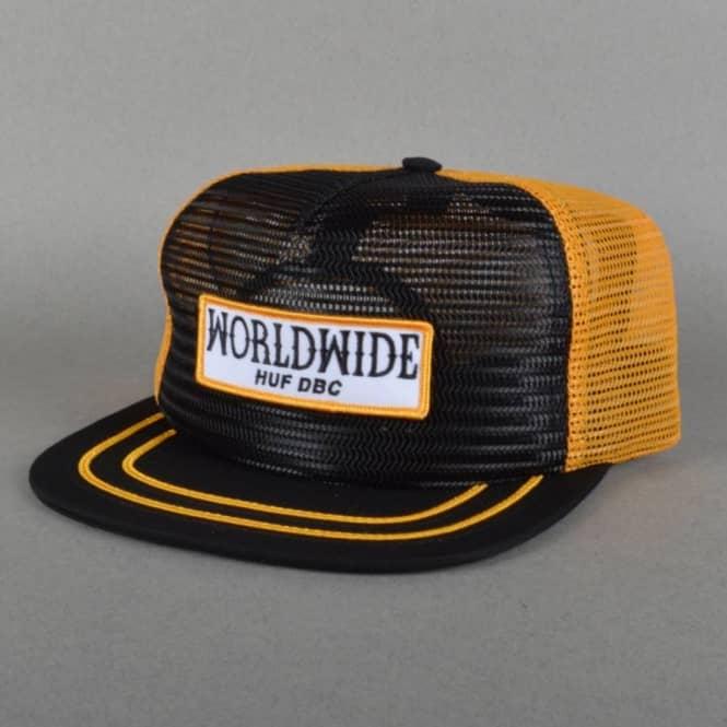 HUF Lager Full Mesh Snapback Cap - Black Yellow - SKATE CLOTHING ... 43b22711b38