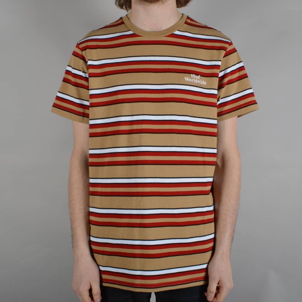 d9b06a7653 HUF Malibu Stripe T-Shirt - Red - SKATE CLOTHING from Native Skate ...