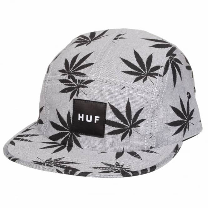 HUF Huf Plantlife Box Logo 5 Panel Volley Cap - Black Grey - Caps ... dac7050d834
