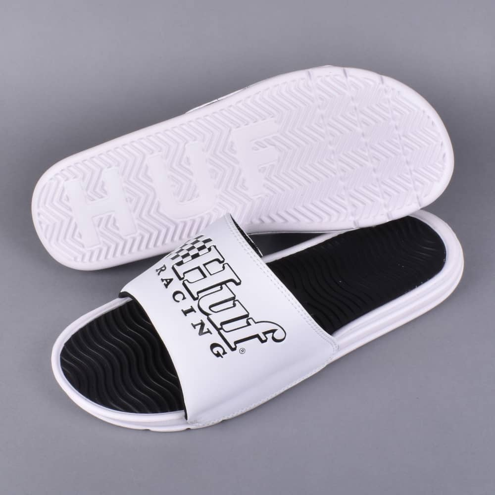 9882f0fc1f24 HUF Racing Slides Flip Flops - White - SKATE SHOES from Native Skate ...