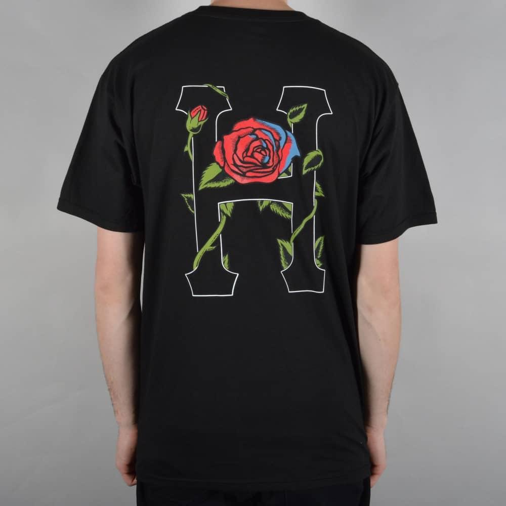 794809650603 HUF Roses Classic H Skate T-Shirt - Black - SKATE CLOTHING from ...