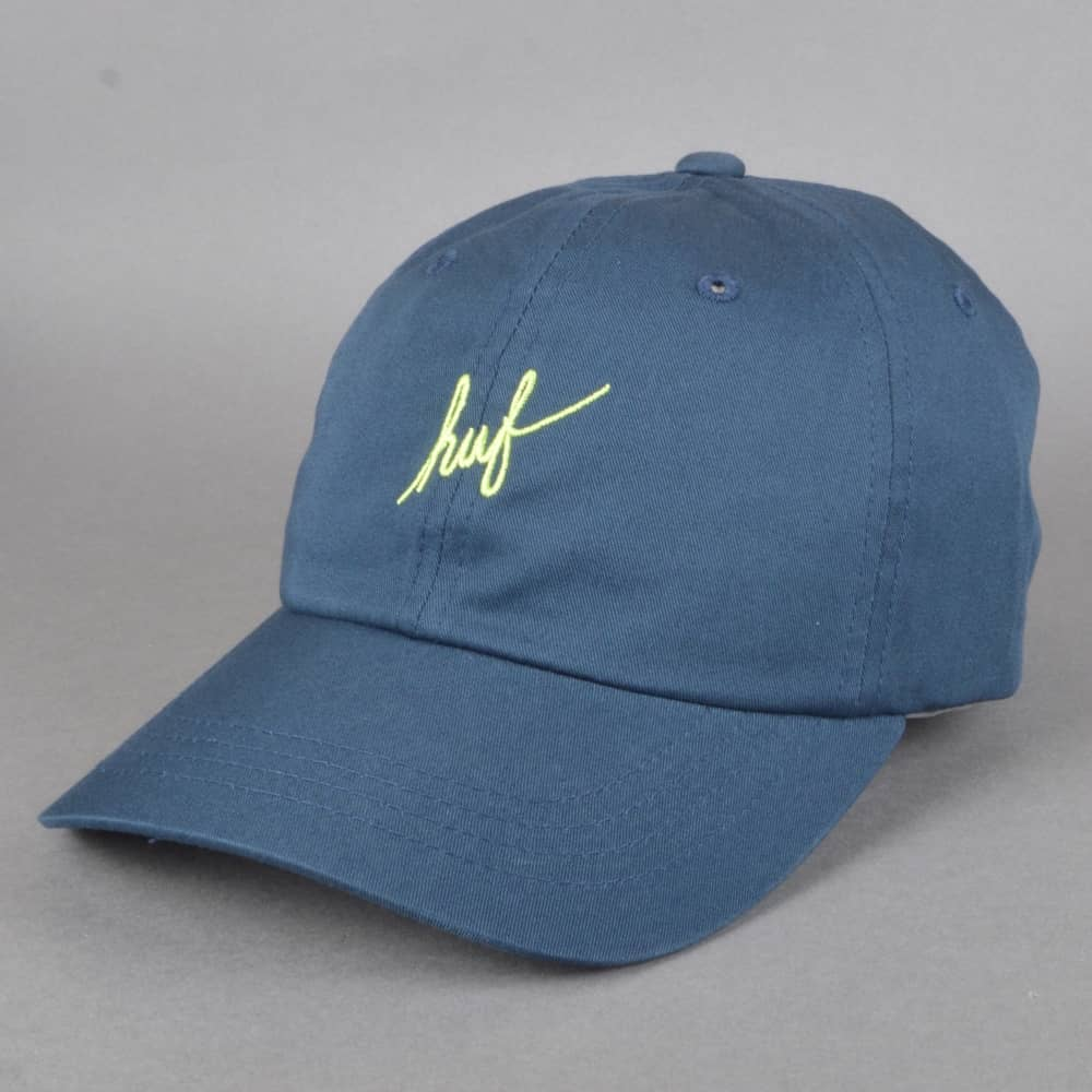 ebea7e427c1 HUF Script Curve Visor 6 Panel Cap - Navy - SKATE CLOTHING from ...