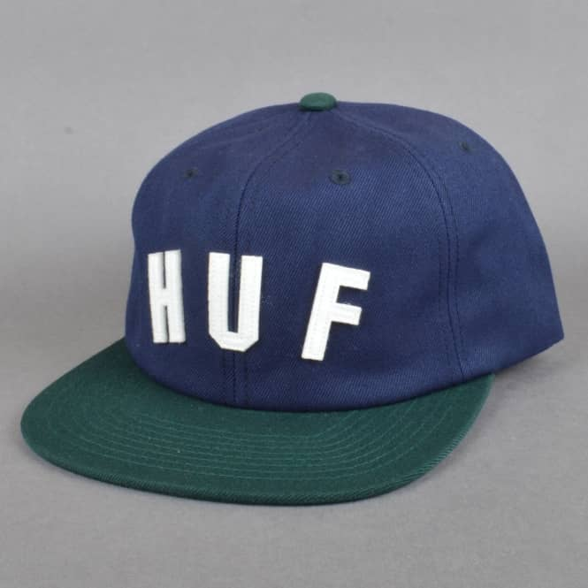 HUF Shortstop 6 Panel Buckle Cap - Navy/Spruce Green