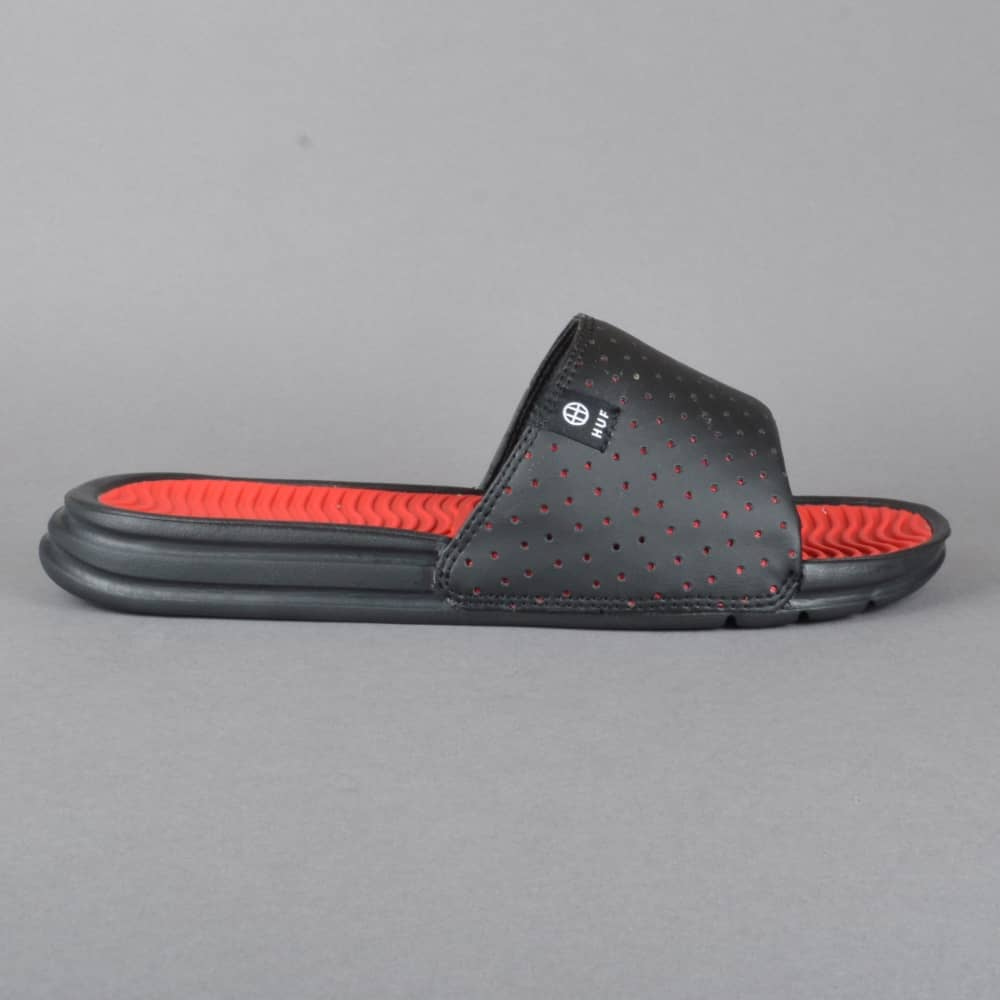 e654c9f0e84a HUF Slide Flip Flops - Black Red - SKATE SHOES from Native Skate ...