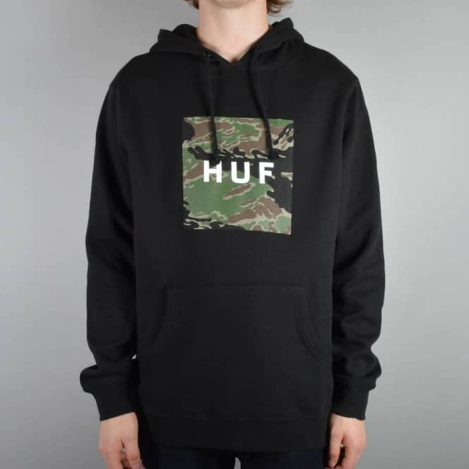 8a8c8376 HUF Tiger Camo Box Logo Pullover Hoodie - Black - Hooded Tops from ...