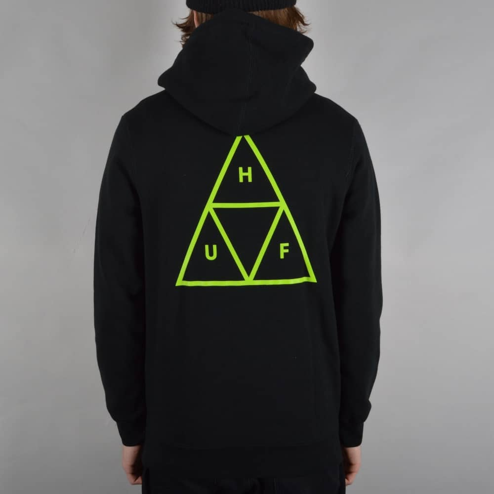 cfb1cb73ce36c HUF Triple Triangle Pullover Hoodie - Black/Green - SKATE CLOTHING ...