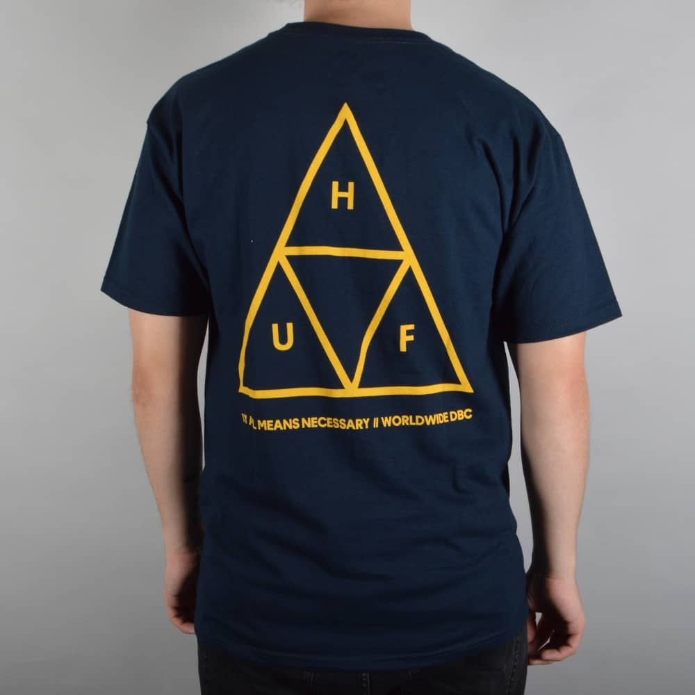 HUF Triple Triangle Skate T-Shirt - Navy Gold - SKATE CLOTHING from ... 042ada15d