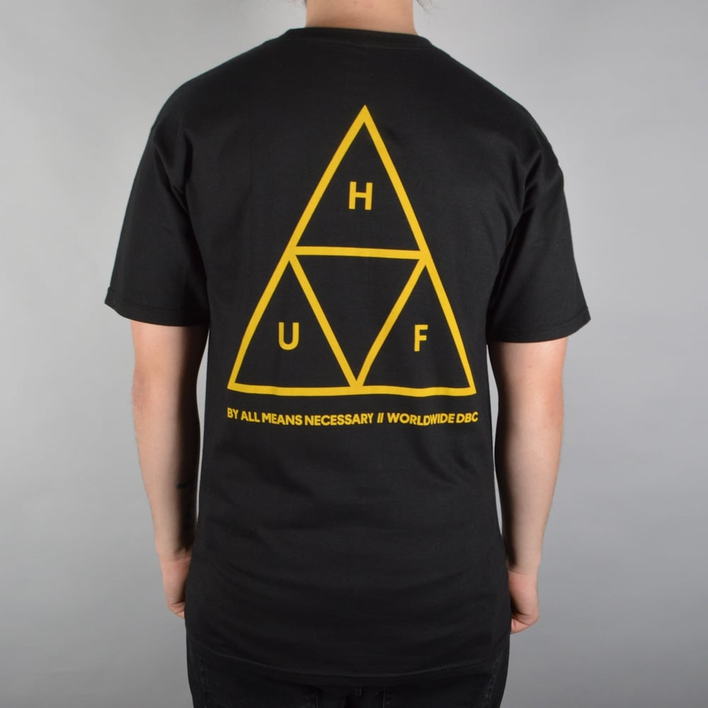 huf triple triangle t shirt black yellow skate clothing from