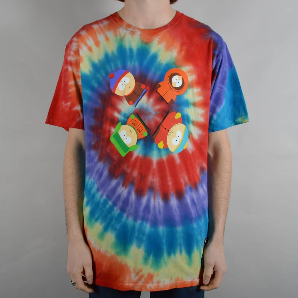 Huf Trippy Tie Dye T Shirt Rainbow Skate Clothing From Native