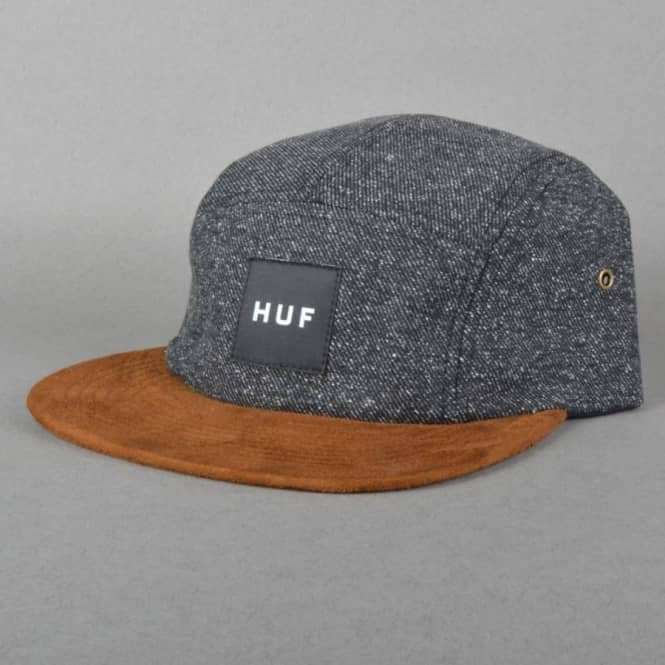 36aa74800db HUF Tweed Volley 5 Panel Cap - Black - Caps from Native Skate Store UK