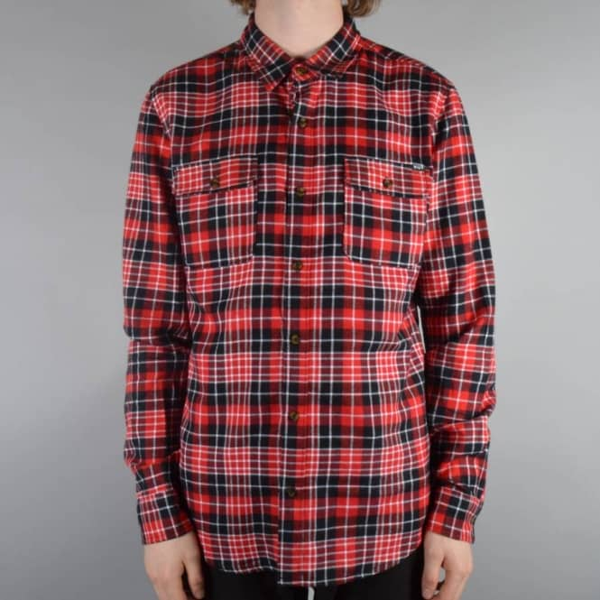 Huf WASHINGTON PLAID Red Black White Checks Button Down Men/'s Shirt