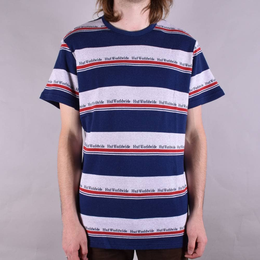cc32ee14c5 HUF Worldwide Stripe Knitted T-Shirt - Twilight Blue - SKATE ...
