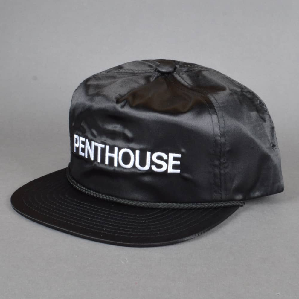 b4acb748b69 HUF x Penthouse Satin Snapback Cap - Black - SKATE CLOTHING from ...