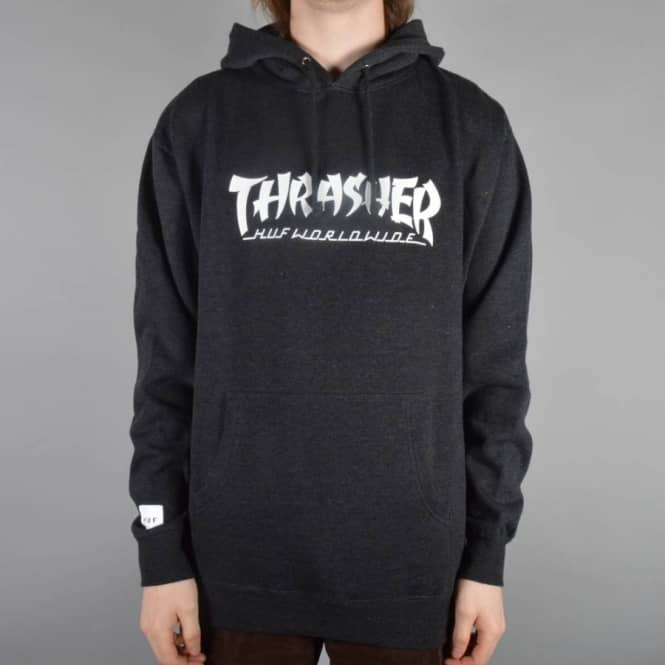 328df8e4d0e HUF X Thrasher Asia tour Pullover Hoodie - Charcoal Heather - Hooded ...