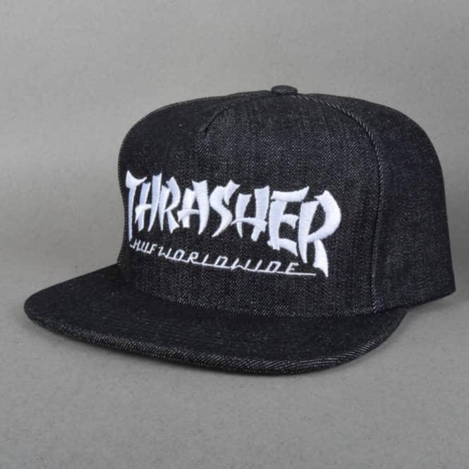 HUF X Thrasher Asia Tour Snapback Cap - Black Denim - SKATE CLOTHING ... 4255d02c2d41